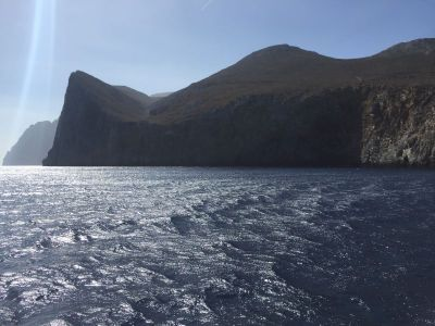 There was a bit of breeze as we sailed across the north tip of Amorgos